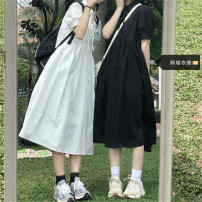 Dress Summer 2021 White, black S,M,L,XL Mid length dress singleton  Short sleeve Sweet Polo collar High waist Solid color Socket A-line skirt other 18-24 years old Other / other Lace up, stitching 51% (inclusive) - 70% (inclusive) other polyester fiber college