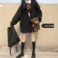 Fashion suit Autumn 2020 S,M,L,XL Black coat (single piece), sweater vest (single piece), shirt with bow tie (single piece), grey pleated skirt (single piece) 18-25 years old