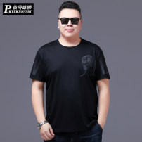 T-shirt Fashion City Black grey thin 4XL 5XL 6XL 7XL XL 2XL 3XL Prterxonshi / Peter lion Short sleeve Crew neck easy Other leisure summer Large size routine tide other Spring 2021 elephant printing cotton Animal design No iron treatment Domestic non famous brands Pure e-commerce (online only)