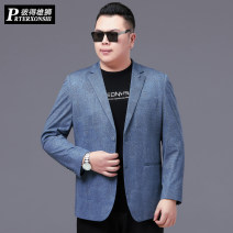 man 's suit blue Prterxonshi / Peter lion Business gentleman routine 190 195 200 205 210 215 PT-P18877 Polyester 92% polyurethane elastic fiber (spandex) 8% Winter 2020 easy Double breasted go to work No slits Pure e-commerce (online only) Large size Long sleeves spring routine Business Casual other