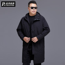 Windbreaker black Prterxonshi / Peter lion Fashion City XL 2XL 3XL 4XL 5XL 6XL 7XL 8XL zipper have more cash than can be accounted for easy Other leisure autumn Large size Hood (not detachable) Youthful vigor PT-80370 Polyester 100% Solid color No iron treatment Digging bags with lids polyester fiber
