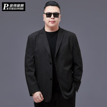 man 's suit black Prterxonshi / Peter lion Business gentleman thin Polyester 100% Winter 2020 easy Double breasted go to work No slits Pure e-commerce (online only) Large size Long sleeves spring routine Business Casual Casual clothes Regular collar (collar width 7-9cm) Round hem other