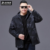 Windbreaker Camouflage black Prterxonshi / Peter lion Fashion City 4XL 5XL 6XL 7XL 8XL XL 2XL 3XL zipper Medium length easy Other leisure spring Large size Hood (not detachable) Youthful vigor PT-L532 Polyester 100% camouflage No iron treatment Thread embedding and bag digging Zipper decoration