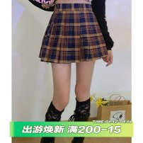 skirt Spring 2021 S,M,L Plaid skirt Short skirt street Natural waist A-line skirt lattice Type A 18-24 years old Q0672 More than 95% other cotton Button