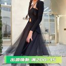 skirt Spring 2021 S. M, l, average size Gauze skirt, black top, skirt + top longuette commute High waist A-line skirt Solid color Type A 18-24 years old Q1111 Chiffon polyester fiber Splicing