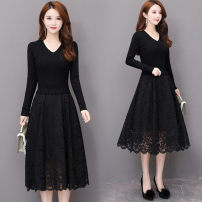 Dress Autumn 2020 Black [v collection], black [half height collection] M,L,XL,2XL,3XL Mid length dress Fake two pieces Long sleeves commute V-neck middle-waisted Solid color Socket A-line skirt routine Type A Stitching, lace