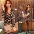 Dress Spring 2021 Leopard 8067, 17 short sleeve white S,M,L,XL Short skirt Long sleeves commute Crew neck 18-24 years old Korean version 8067#