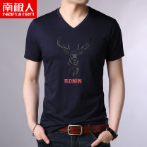 T-shirt Youth fashion Red Black White Navy thin 165M 170L 175XL 180XXL 185XXXL 190XXXXL NGGGN Short sleeve V-neck standard motion summer N9K1915 Cotton 100% youth routine tide Summer of 2019 Animal design printing Animal design washing Domestic famous brands