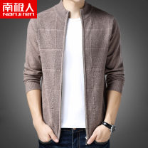 T-shirt / sweater NGGGN Business gentleman Black camel jujube 165M 170L 175XL 180XXL 185XXXL routine Cardigan stand collar Long sleeves N8Z68854 winter 2018 Wool 100% leisure time Business Casual middle age routine Solid color Winter 2020 No iron treatment Fine wool (16 and 14 stitches)