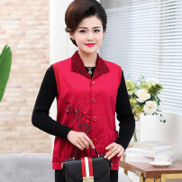 Middle aged and old women's wear Autumn 2019, spring 2019 Rose, red XXL,XXXL,XXXXL,5XL ethnic style Vest easy singleton  Solid color 40-49 years old Cardigan thin Polo collar routine routine 105-1904 105-1904 Embroidery pure cotton 96% and above Single breasted