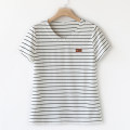 Middle aged and old women's wear Summer 2020, spring 2020 White stripe, blue stripe, black stripe, white stripe long sleeve, blue stripe long sleeve, black stripe long sleeve XL suggests 85-105 kg, 2XL 105-120 kg, 3XL 120-135 kg, 4XL 135-150 kg, 5XL 150-165 kg leisure time T-shirt easy singleton