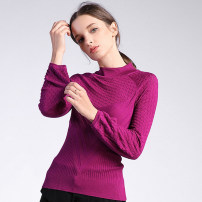 sweater Autumn of 2019 S M L XL Black purple red wood green Long sleeves Socket singleton  Regular acrylic fibres 51% (inclusive) - 70% (inclusive) Half high collar Regular street bishop sleeve Self cultivation Fine wool Keep warm and warm Li Zi Zhuoya wool Polyacrylonitrile 70% wool 30%