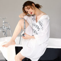 Nightdress sexy Short sleeve pajamas Middle-skirt summer letter youth Small lapel Polyester (polyester) printing More than 95% Imitation silk 200g and below Summer 2020 Polyester 96% polyurethane elastic fiber (spandex) 4% Pure e-commerce (online only)