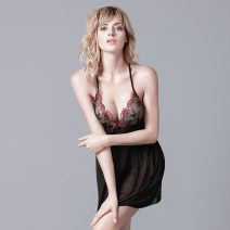 Nightdress Bimini 18057 black, 18057 red, 17270 red, 17270 black, 17260 red, 17260 black 160(M),165(L),170(XL),175(XXL) sexy camisole pajamas Short skirt summer Solid color youth V-neck nylon Embroidery 81% (inclusive) - 95% (inclusive) Mesh 200g and below