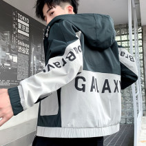 Jacket URSBOB Youth fashion Black, dark green M L XL 2XL 3XL routine Self cultivation Other leisure autumn UR-JZ19168 Polyester 100% Long sleeves Wear out Hood tide routine Zipper placket Rubber band hem washing Closing sleeve other Autumn of 2019 Inlay decoration Digging bags with lids