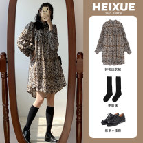 Women's large Spring 2021 Picture color Large L Large XL 2XL singleton  commute Long sleeves Broken flowers Korean version polyester fiber other c8008 Black Snow 18-24 years old fungus 96% and above Middle-skirt Polyester 100% other