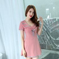 Dress Summer of 2018 Pink red blue S M L XL XXL Short skirt commute 18-24 years old Meliana Korean version 80995SSS More than 95% polyester fiber Polyethylene terephthalate (PET) 95% polyurethane elastic fiber (spandex) 5% Pure e-commerce (online only)