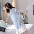 Nightdress 160(M) 165(L) 170(XL) 175(XXL) Cartoon Short sleeve pajamas Middle-skirt summer Cartoon animation Crew neck cotton More than 95% pure cotton Spring 2021 Cotton 100% Pure e-commerce (online only)