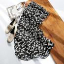 skirt Summer 2020 M,L,XL Flowers on black background Mid length dress commute High waist A-line skirt other Type A 25-29 years old More than 95% Crepe de Chine Other / other silk printing Korean version