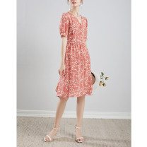 Dress Summer 2020 Orange pink M,L,XL Mid length dress singleton  Short sleeve commute V-neck High waist Decor Single breasted Big swing routine Others 30-34 years old Type H Chapter of silk Simplicity Fold, tie, print More than 95% Crepe de Chine silk
