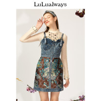 Dress Spring 2021 blue 155/80A/S 160/84A/M 165/88A/L 170/92A/XL Middle-skirt singleton  Sleeveless commute High waist Big flower A-line skirt camisole 25-29 years old Type A lulualways Retro Color contrast LMA5125 More than 95% cotton Cotton 100% Same model in shopping mall (sold online and offline)