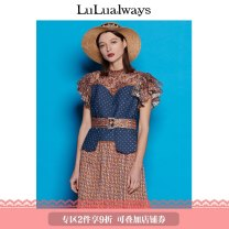 Dress Summer of 2019 orange 155/80A/S 160/84A/M 165/88A/L 170/92A/XL Short skirt 25-29 years old lulualways More than 95% polyester fiber Polyester 100% Same model in shopping mall (sold online and offline)