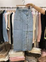 skirt Spring 2021 S,M,L,XL blue Mid length dress commute High waist Irregular Solid color 18-24 years old 71% (inclusive) - 80% (inclusive) Denim Button, pocket Korean version