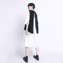 Dress Summer 2021 Black and white S M L Mid length dress Two piece set three quarter sleeve commute Crew neck Loose waist Solid color Socket A-line skirt routine 30-34 years old Type A UU.MP Simplicity Splicing More than 95% other cotton Cotton 95% polyurethane elastic fiber (spandex) 5%