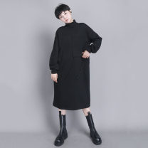 Dress Winter 2020 black S M L Mid length dress singleton  Long sleeves commute High collar High waist Solid color Socket Pencil skirt routine 30-34 years old Type H UU.MP Simplicity Pocket tie More than 95% knitting cotton Cotton 95% polyurethane elastic fiber (spandex) 5% Exclusive payment of tmall