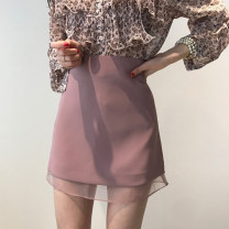 skirt Spring of 2019 XS,S,M,L Pink, black, white Short skirt Versatile High waist A-line skirt Solid color Type A 18-24 years old 91% (inclusive) - 95% (inclusive) brocade Other / other nylon Mesh, zipper, stitching 201g / m ^ 2 (including) - 250G / m ^ 2 (including)