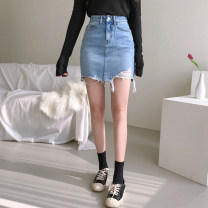 skirt Spring of 2019 XS,S,M,L blue Short skirt Versatile High waist skirt Solid color Type A 18-24 years old 91% (inclusive) - 95% (inclusive) Denim Other / other cotton Tassels, holes, hollows, hand worn, pockets, asymmetric, worn, buttons, zippers 351g / m ^ 2 (including) - 400g / m ^ 2 (including)
