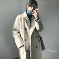 woolen coat Autumn 2020 S M L XL Off white black off white [thickened cotton clip] black [thickened cotton clip] red [thickened cotton clip] polyester 95% and above have more cash than can be accounted for Long sleeves commute double-breasted routine tailored collar Solid color Straight cylinder