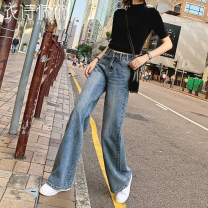 Jeans Winter of 2019 25 26 27 28 29 30 31 32 trousers High waist Wide legged trousers routine 25-29 years old Wash zipper button Multi Pocket other Cotton denim Dark color YST1103/ Estelle 96% and above Cotton 96.1% polyester 2.9% viscose (viscose) 1% Pure e-commerce (online only)