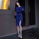 Dress Autumn of 2019 Khaki, black, blue S,M,L,XL Middle-skirt singleton  Long sleeves commute Crew neck middle-waisted Solid color Socket Pencil skirt routine Others 18-24 years old Korean version Stitching, thread, button 51% (inclusive) - 70% (inclusive) knitting