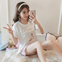 Pajamas / housewear set female Other / other M L XL XXL 730 ᦇ a crane 727 ᦇ Flamingo V-neck blue lace Cat Blue Lace cat. 731 Pink Bear 728 ᦇ pink cherry 726 ᦇ Beige boat 715 ᦇ happy kitten Polyester (polyester) Short sleeve Sweet pajamas summer routine Crew neck Cartoon animation shorts Socket youth