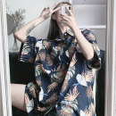 shirt M L XL XXL Summer of 2019 polyester fiber 91% (inclusive) - 95% (inclusive) Short sleeve street Medium length Polo collar Single row multi button routine Broken flowers 18-24 years old Straight cylinder Lantia Printed pocket Other polyester 95% 5% Pure e-commerce (online only) neutral Chiffon