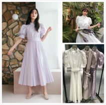 Dress Spring 2021 Average size longuette singleton  Short sleeve Sweet stand collar High waist Solid color Big swing puff sleeve Others 25-29 years old Type A SNIDEL Bow, tie, zipper 91% (inclusive) - 95% (inclusive) cotton solar system