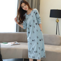 Nightdress Other / other 175(XXL),170(XL),165(L),160(M),180(XXXL) Sweet Long sleeves Leisure home longuette autumn Plants and flowers youth Crew neck cotton printing More than 95% pure cotton 220g
