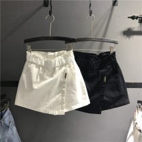 skirt Summer 2021 S,M,L,XL White, black, khaki, camouflage Short skirt street High waist A-line skirt Solid color Type A 71% (inclusive) - 80% (inclusive) Denim cotton Asymmetry Europe and America