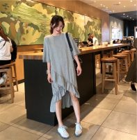 Women's large Summer 2020, spring 2020 Gray, black 40: Suitable for 125 ~ 145 kg, 2XL: suitable for 145 ~ 165 kg, 3XL: suitable for 165 ~ 190 kg, 4XL: suitable for 190 ~ 215 kg, 5XL: suitable for 220 ~ 250 kg, 6xl: suitable for 250 ~ 300 kg, more than 300 kg Dress singleton  Sweet easy thin Socket