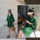 Women's large Summer of 2019 Off white, black, red, green 40: Suitable for 125 ~ 145 kg, 2XL: suitable for 145 ~ 165 kg, 3XL: suitable for 165 ~ 190 kg, 4XL: suitable for 190 ~ 215 kg, 5XL: suitable for 220 ~ 250 kg, 6xl: suitable for 250 ~ 300 kg, more than 300 kg Dress singleton  commute easy thin