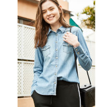 shirt Light blue, dark blue S,M,L,XL Spring of 2018 cotton 96% and above Long sleeves Original design Regular Polo collar Single row multi button routine Solid color 25-29 years old Self cultivation Primary cotton S6300 Old, button