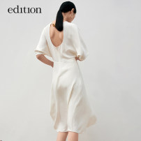 Dress Summer 2021 Black, white XS/155 S/160 M/165 L/170 XL/175 Mid length dress 25-29 years old edition EBA2DRS028 More than 95% silk Mulberry silk 100% Same model in shopping mall (sold online and offline)