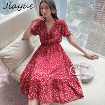 Dress Summer 2021 gules S M L longuette singleton  Short sleeve commute V-neck High waist Decor Socket A-line skirt routine 18-24 years old Good appointment lady Fold frenum JY210348 More than 95% cotton Cotton 100% Pure e-commerce (online only)