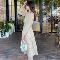 Dress Spring 2021 Apricot S M L XL longuette singleton  Long sleeves commute square neck High waist Broken flowers Socket A-line skirt puff sleeve camisole 18-24 years old Type A Good appointment Korean version More than 95% Chiffon polyester fiber Polyester 100% Pure e-commerce (online only)