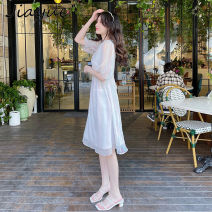 Dress Summer 2021 colour S M L XL Mid length dress singleton  Long sleeves commute V-neck High waist Solid color Socket A-line skirt routine 18-24 years old Type A Good appointment lady Button JY210406 More than 95% Chiffon polyester fiber Polyester 100% Pure e-commerce (online only)