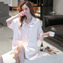 Nightdress PX&FC Average size sexy three quarter sleeve pajamas Middle-skirt spring Solid color youth Shirt collar Polyester (polyester) One piece 81% (inclusive) - 95% (inclusive) Spring 2021 Polyester 95% polyurethane elastic fiber (spandex) 5% Pure e-commerce (online only)