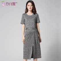 Dress Xi Fanni dark grey M L XL XXL leisure time Short sleeve have more cash than can be accounted for summer Crew neck Solid color