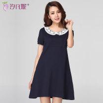 Dress Xi Fanni navy blue M L XL XXL Korean version Short sleeve Medium length summer Crew neck Solid color Pure cotton (95% and above)