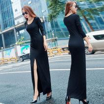 Dress Fall 2017 black XS S M L XL Mid length dress singleton  Long sleeves commute Crew neck High waist Solid color Big swing routine 25-29 years old Mubeele / mubaili Korean version 175M2001 81% (inclusive) - 90% (inclusive) polyester fiber